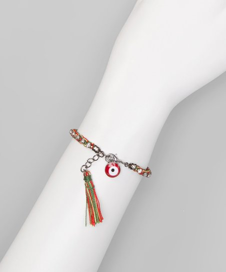 Red & Green Tassel Eye Charm Bracelet
