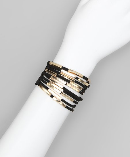 Black Metal Tube Layered Bracelet