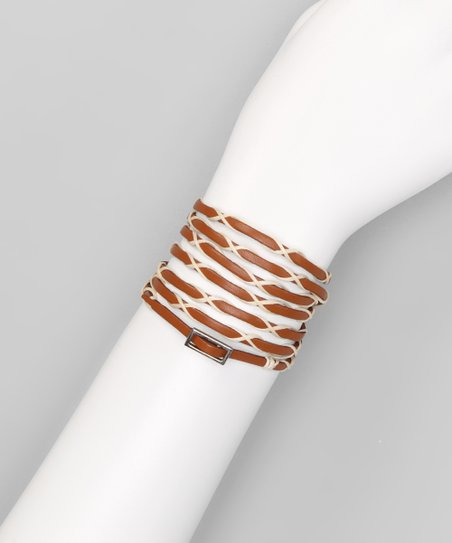 Cream &amp; Tan Woven Buckle Leather Wrap Bracelet