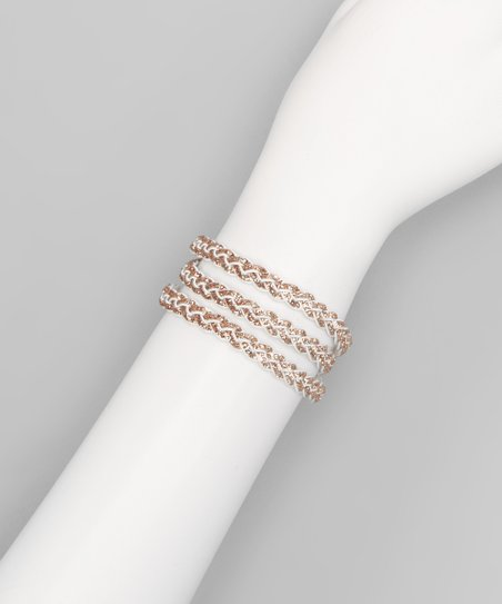 Bronze Glitter Braided Leather Bracelet