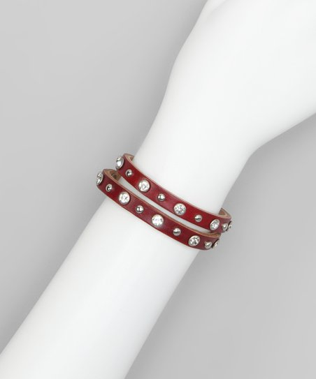 Red Studs & Rhinestones Leather Wrap Bracelet