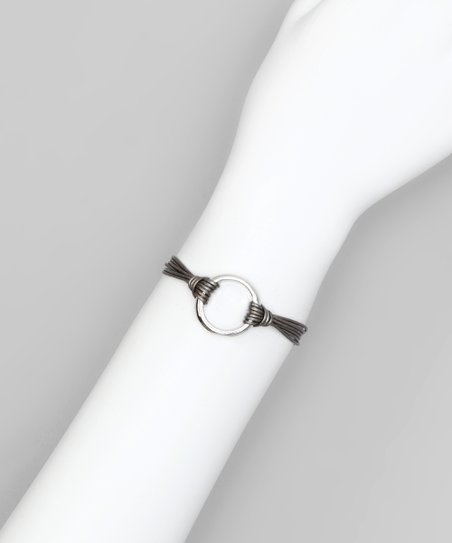 Silver Leather Ring Bracelet