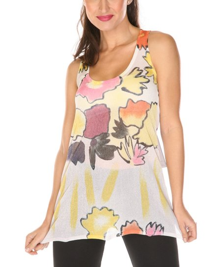 White & Yellow Floral Scoop Neck Tank