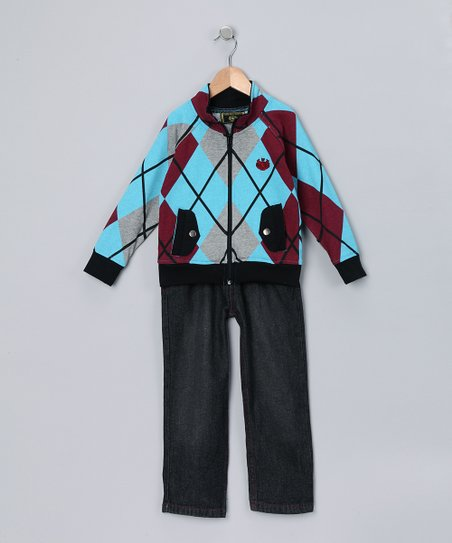 Blue Argyle Zip-Up Jacket &amp; Jeans - Toddler