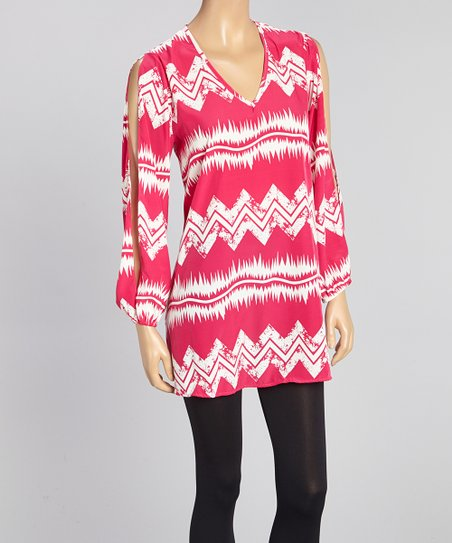 Fuchsia & White Zigzag V-Neck Tunic