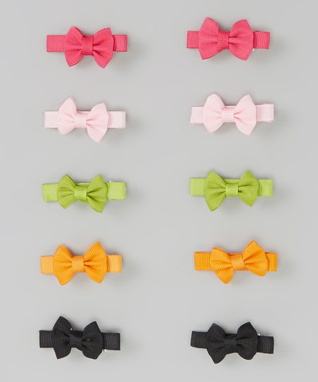Orange Bow Clip Set