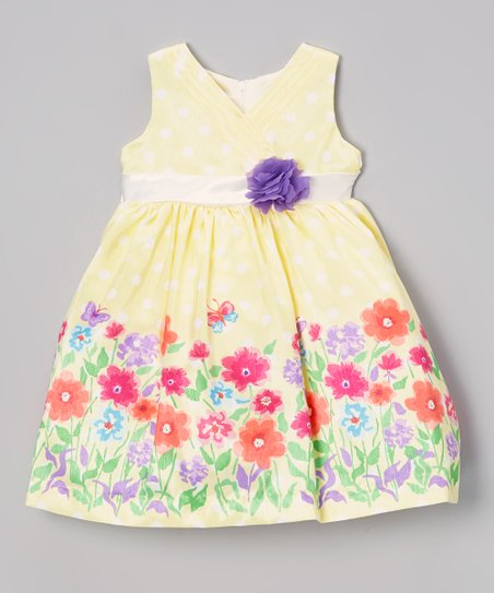 Light Yellow Floral Surplice Dress - Infant & Girls