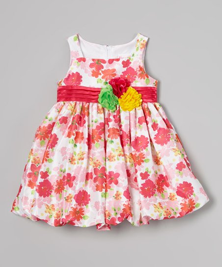 Dark Pink Floral Bubble Dress - Infant, Toddler & Girls