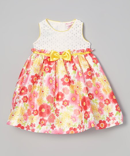 White & Gold Floral Dress - Infant, Toddler & Girls