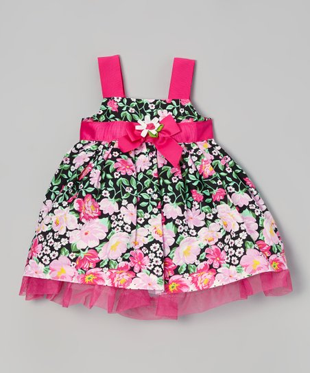 Dark Pink & Black Floral Dress - Infant, Toddler & Girls