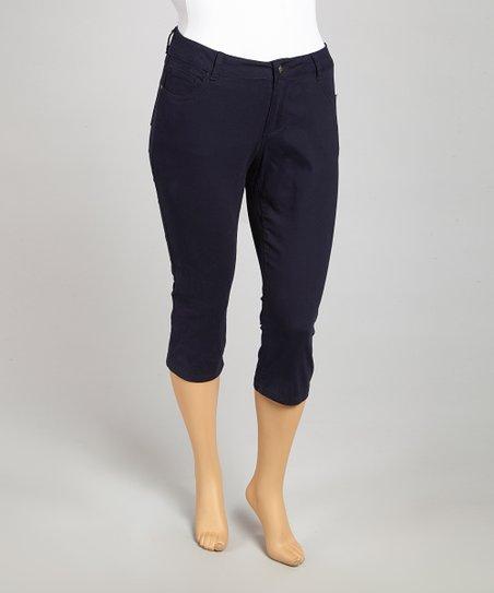 Navy Classic Capri Pants – Plus