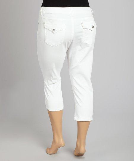 White Flap Pocket Capri Pants – Plus