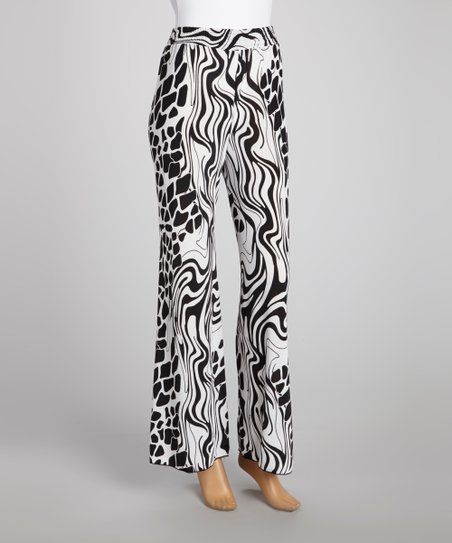 Black & White Abstract Palazzo Pants
