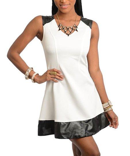 Ivory & Black V-Neck Dress