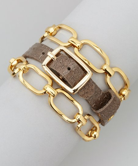 Textured Charcoal Bennie Gold & Leather Wrap Bracelet