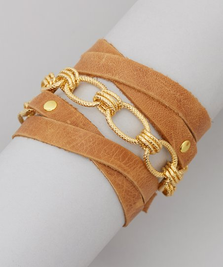 Tan & Gold Isis Leather Wrap Bracelet