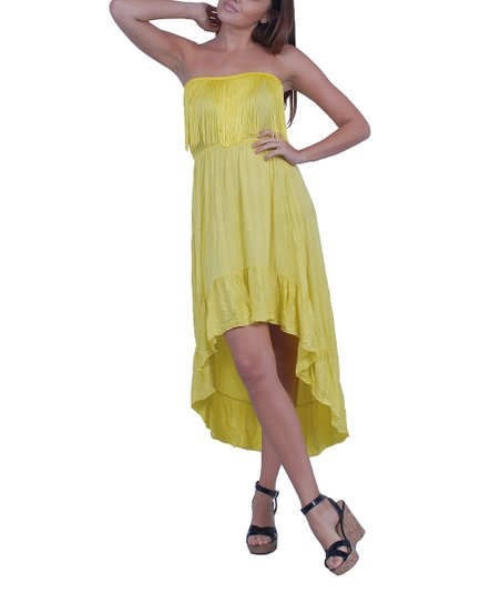 Yellow Fringe Hi-Low Dress
