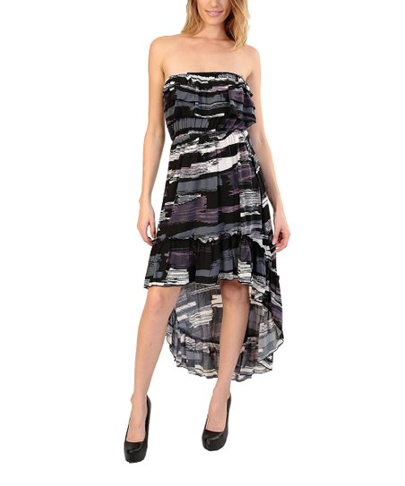 Black & White Abstract Ruffle Hi-Low Dress