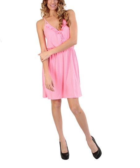 Pink Ruffle Surplice Dress