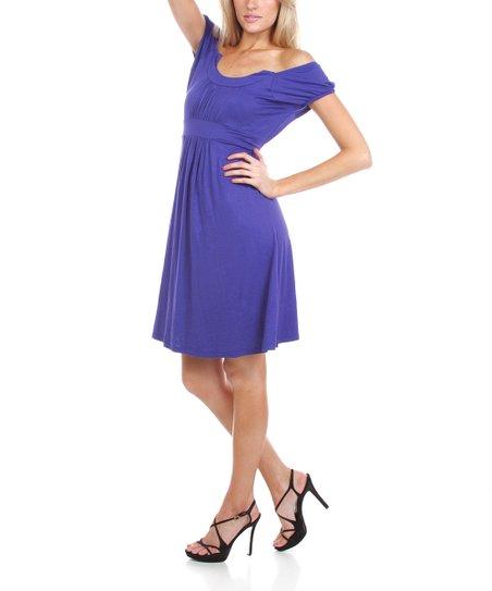 Royal Pleated Off-Shoulder Dress