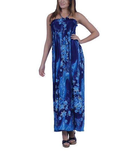 Aqua Floral Ruffle Smocked Maxi Dress