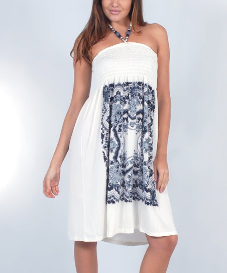 Ecru & White Tapestry Smocked Halter Dress