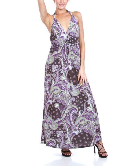Purple & Olive Paisley Maxi Dress