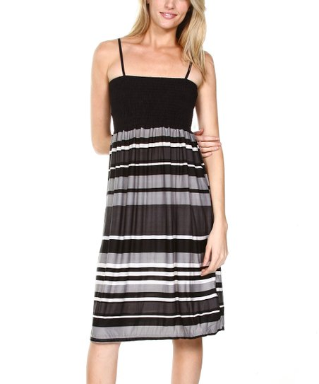Black & Gray Stripe Smocked Empire-Waist Dress