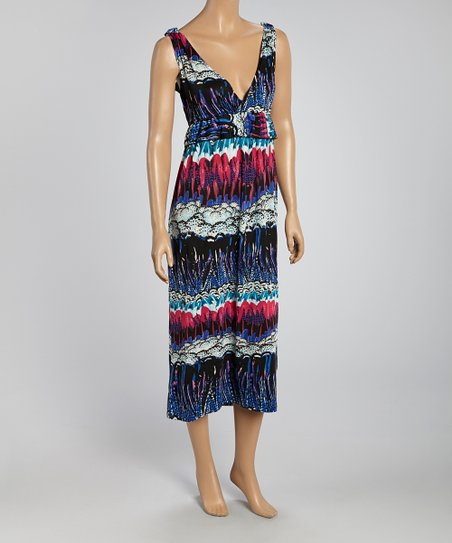Blue & Red Abstract Sleeveless Dress