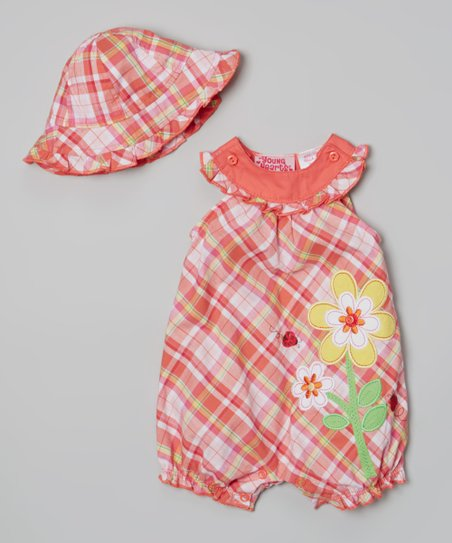 Orange Plaid Flower Romper & Hat - Infant