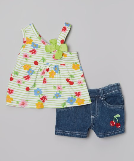 Green Floral Tank & Dark Blue Denim Shorts - Infant