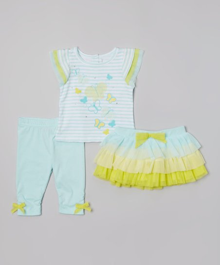Aqua Stripe Butterfly Top & Ruffle Skirt Set - Infant