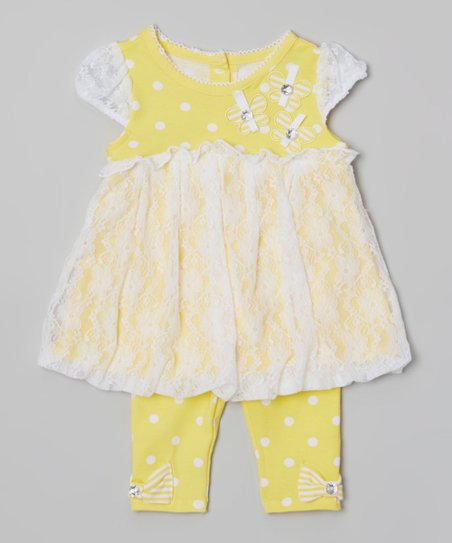Yellow Lace Bubble Tunic & Polka Dot Leggings - Infant