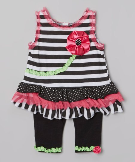 Black Stripe Flower Ruffle Tunic & Leggings - Infant