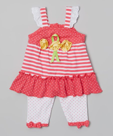Coral Polka Dot Rosette Ruffle Tunic & Leggings - Infant