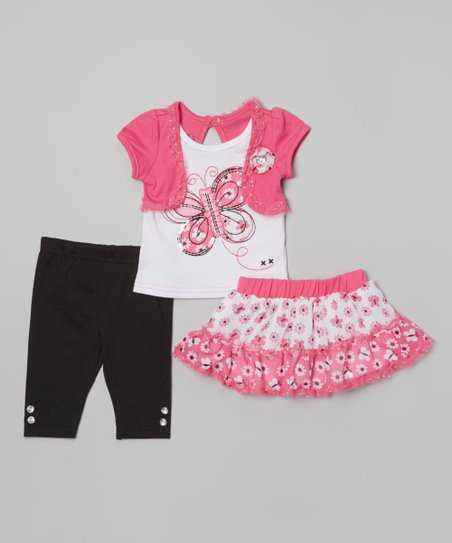 Pink Butterfly Skirt Set - Infant