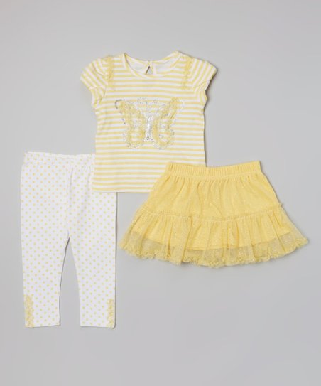 Yellow Stripe Butterfly Top Set - Infant, Toddler & Girls