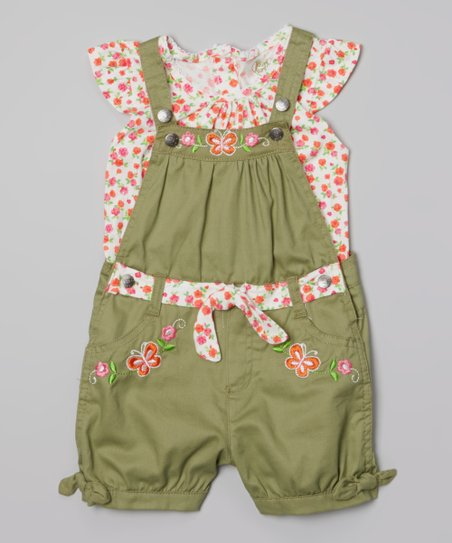 Pink & Green Floral Layered Romper - Toddler & Girls