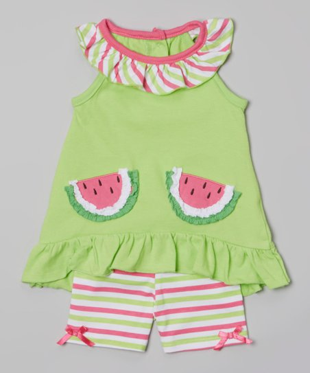 Green Watermelon Yoke Tunic & Stripe Shorts - Toddler