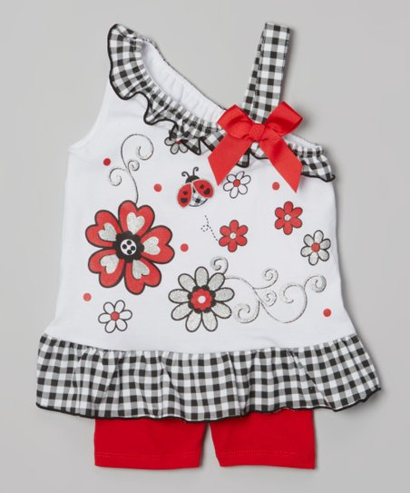White Flower Yoke Tunic & Red Shorts - Infant, Toddler & Girls