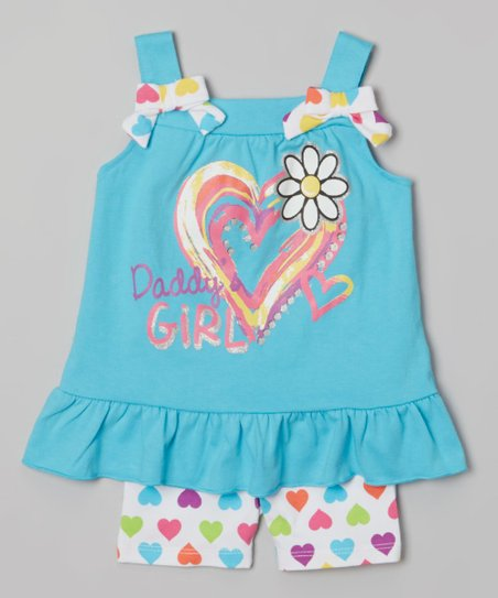 Blue 'Daddy's Girl' Tunic & Shorts - Infant, Toddler & Girls