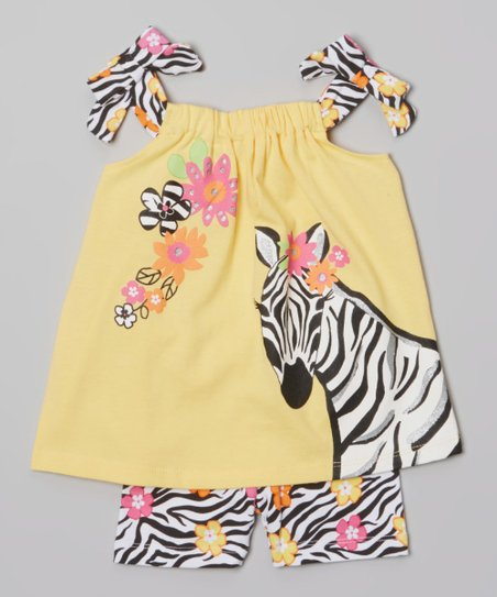 Yellow Zebra Swing Tunic & Shorts - Infant, Toddler & Girls