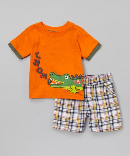 Orange 'Chomp' Tee & Plaid Shorts - Infant