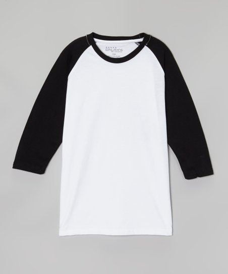White & Black Raglan Tee - Boys