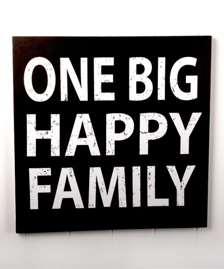 White & Black 'One Big Happy Family' Canvas