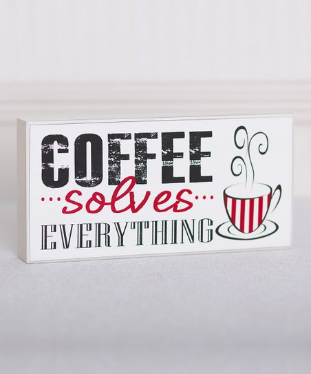 Black & Red 'Coffee Solves Everything' Brick Décor