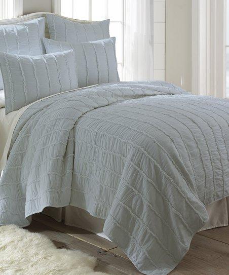 Blue Ruffle Quilt Set