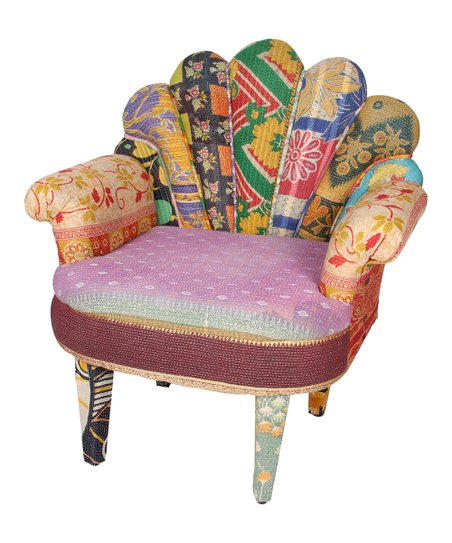 Pink & Beige Patchwork Peacock Chair