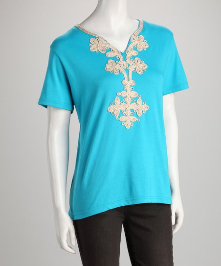 Turquoise Embellished Tee