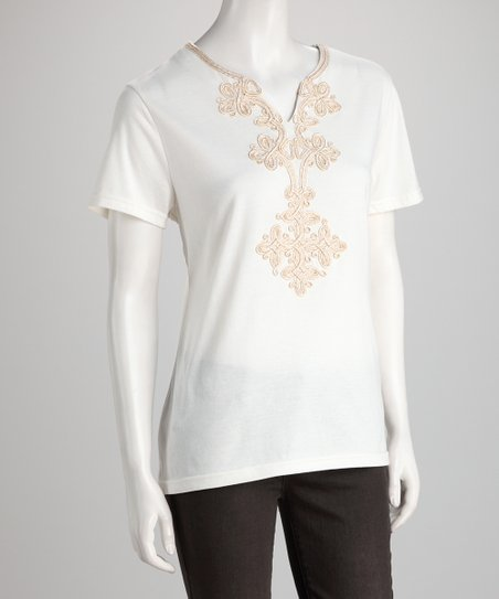 White Embellished Tee